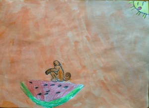 Monkey_on_watermellon