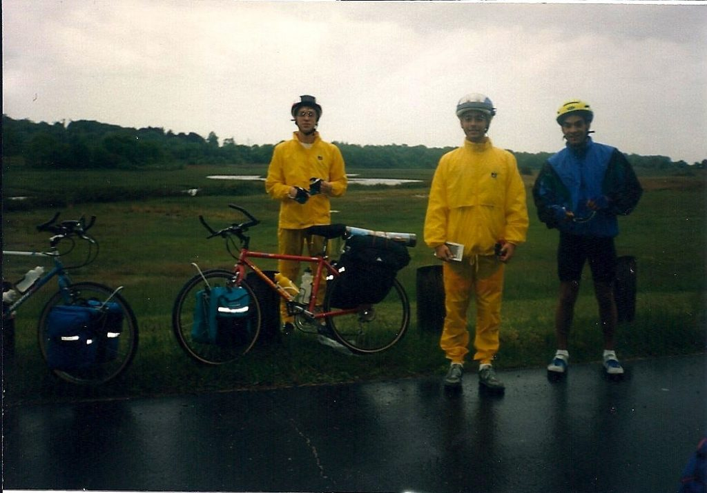 Starting the Cross Country Trip, May 1992 (Paul, Adrian, and Pete)