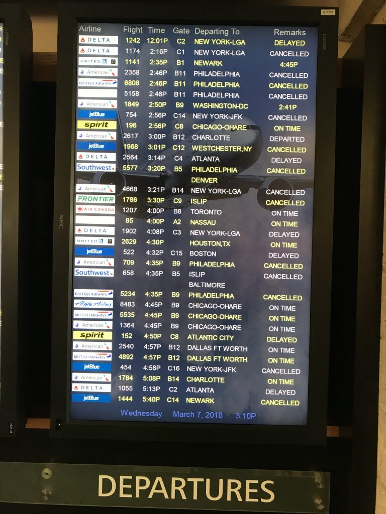 Departures board at airport