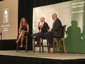 Photo of Jeanette Barlow, Adrian Gonzalez, and Paul Gonzalez at IBM Watson Supply Chain Summit