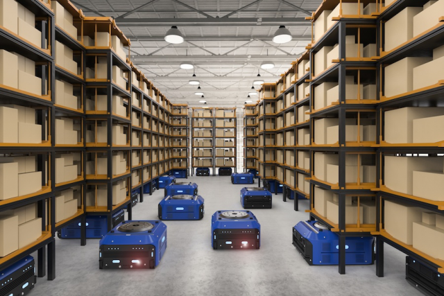 Photo of mobile robots in warehouse