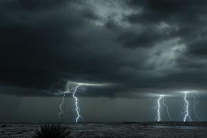Lightning storm over field in Oklahoma
