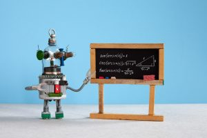 Artificial intelligence and trigonometry lesson in college. Robot teacher explains theory inverse