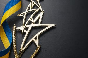 Gold shooting star trophy for a competition winner