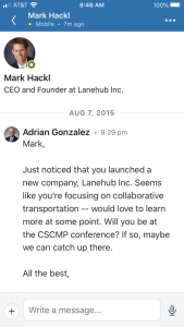 Adrian Gonzalez message to Mark Hackl from Lanehub via LinkedIn