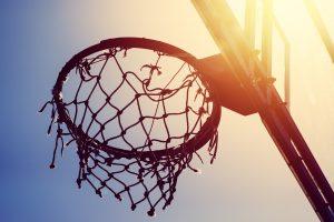 Basketball hoop on amateur outdoor basketball court