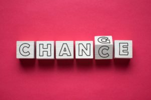 Wooden cube with word change to chance