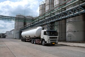Tanker, Truck Delivery Danger Chemical in Petrochemical Plant