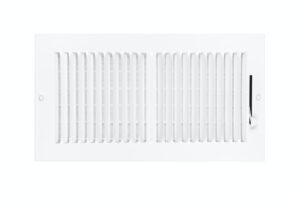 Air conditioning and heating vent on white