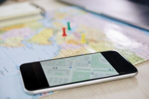 Closeup of smartphone with GPS application