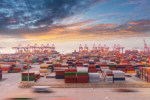 container port in sunset