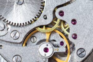 detail of mechanical watch close up