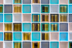 Wall of transparant glass boxes