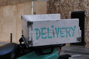 Delivery box on the back of a scooter