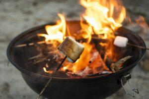 Roasted marshmallow on fire