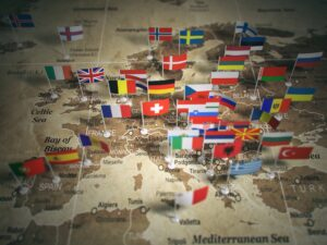 European Union map with flags of countries. Europe.