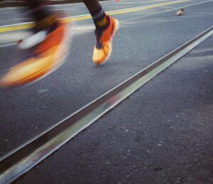 marathon with shoes detail